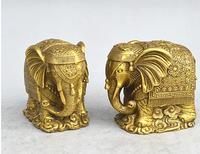 8 CM Chinese Feng Shui Bronze Auspicious Lucky Animal Elephant Pair Statue.