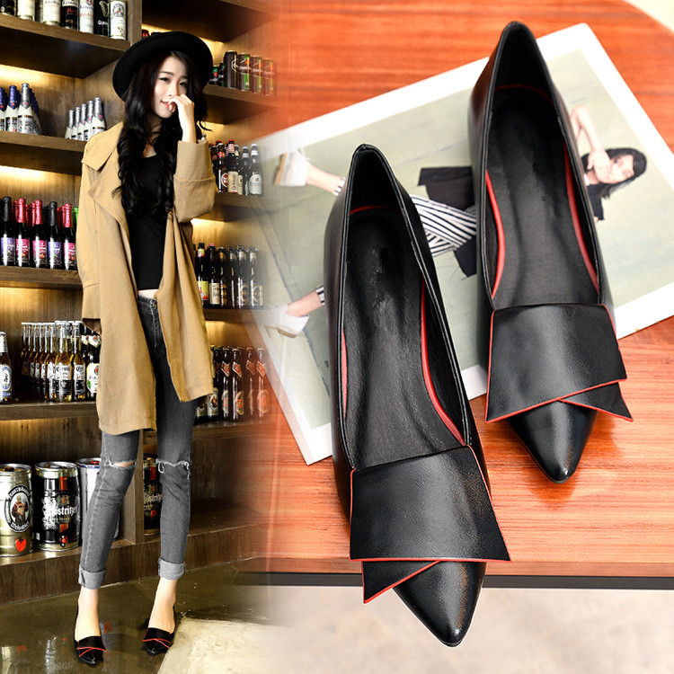 SHIDIWEIKE-2018-New-Pointed-Toe-Low-Heel-Pumps-Black-Red-White-Shallow-Mouth-1-5cm-Thick