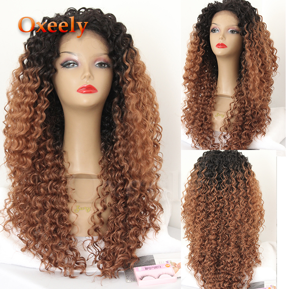 Oxeely #30 Ombre Brown Kinkys Curly Hair Lace Front Wigs 180 Density Glueless Synthetic Lace Front Wigs Long Curly Wig