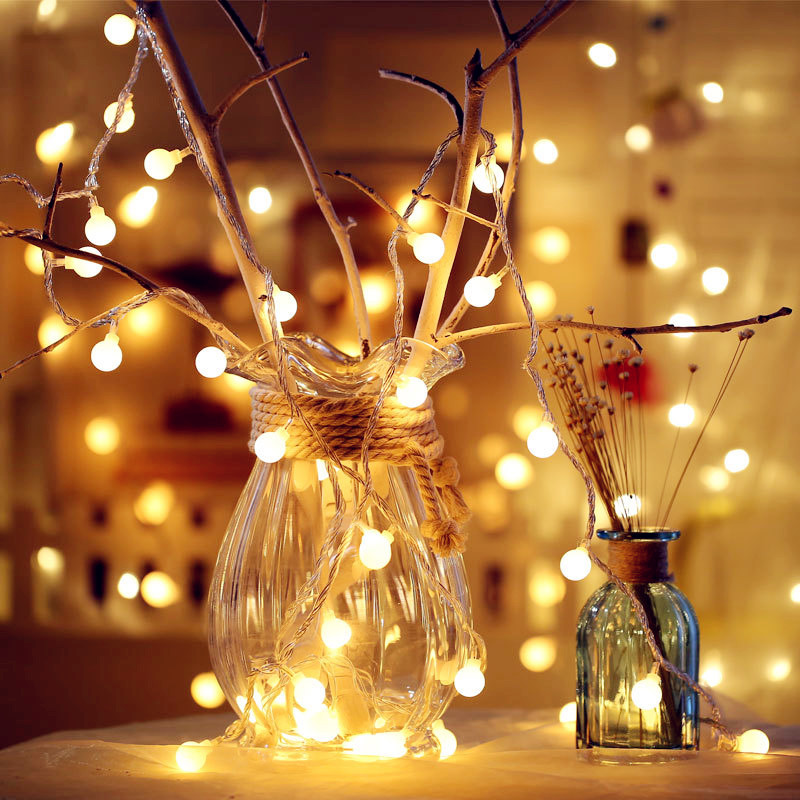 New 5M Fairy Garland LED Ball String Lights Waterproof For Christmas Tree Wedding Home Indoor Decoration Battery Powered Remote