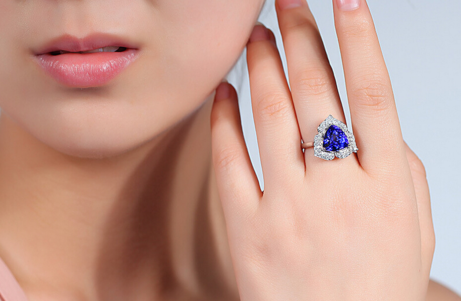 3 carat pure 925 silver ring sapphire jewelry tanzanite man made diamond ring blue rose ring for women US size from 4.5 to 9