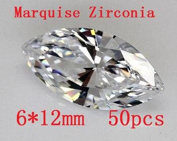 ¡Envío gratis MRHUANG! ¡alta calidad! 50 unids/pack 6*6*12MM forma de marquesa de grado AAA joyería encontrar pendiente DIY anillo de
