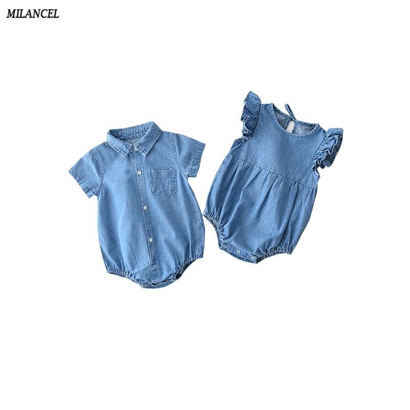 MILANCEL 2019 Summer Baby Clothing Solid Boys Bodysuits Baby Girls Denim Bodysuits Short Sleeve Baby Jumpsuits