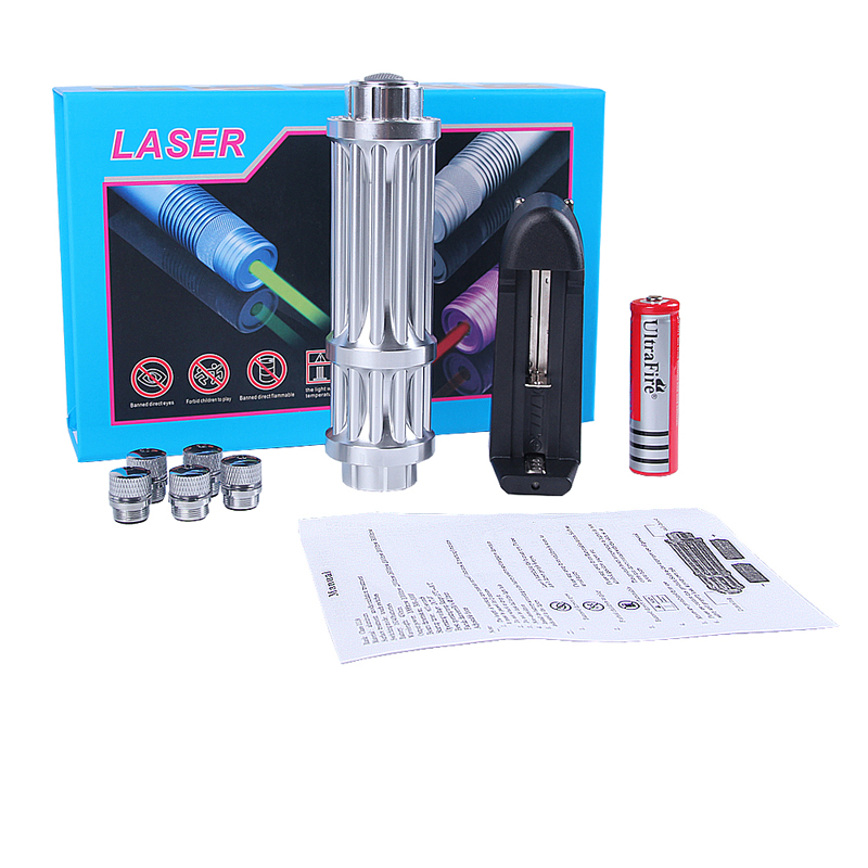 Green Laser 450nm Pointer High Power Mobile Power Lazer Pen Rechargeable Battery Light Adjustable Focus With 5 stars Caps (9)