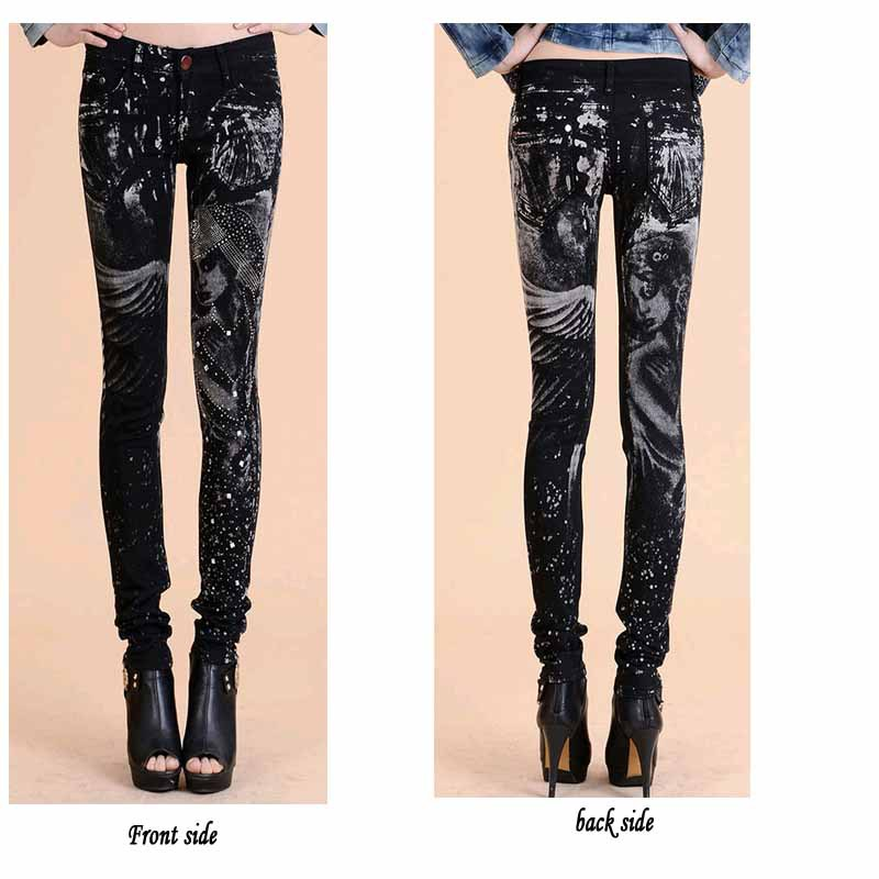 New Fashion jeans woman Casual Black Pencil jean pants Girl drilling printing Pattern jeans Skinny Long womens Capris Female 4