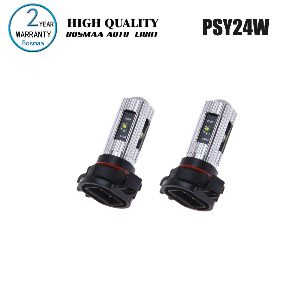 Bosmaa 2PCS PSY24W 25W with Chips Free Super Bright  Fog Lights Driving Lamp Backup Light Turn Signals Car Led Auto Lamp 2pcs car auto p7 h8 led headlight replacement fog bulbs super bright 50w 5000lm bulb 6000k white csp chips driving lamp