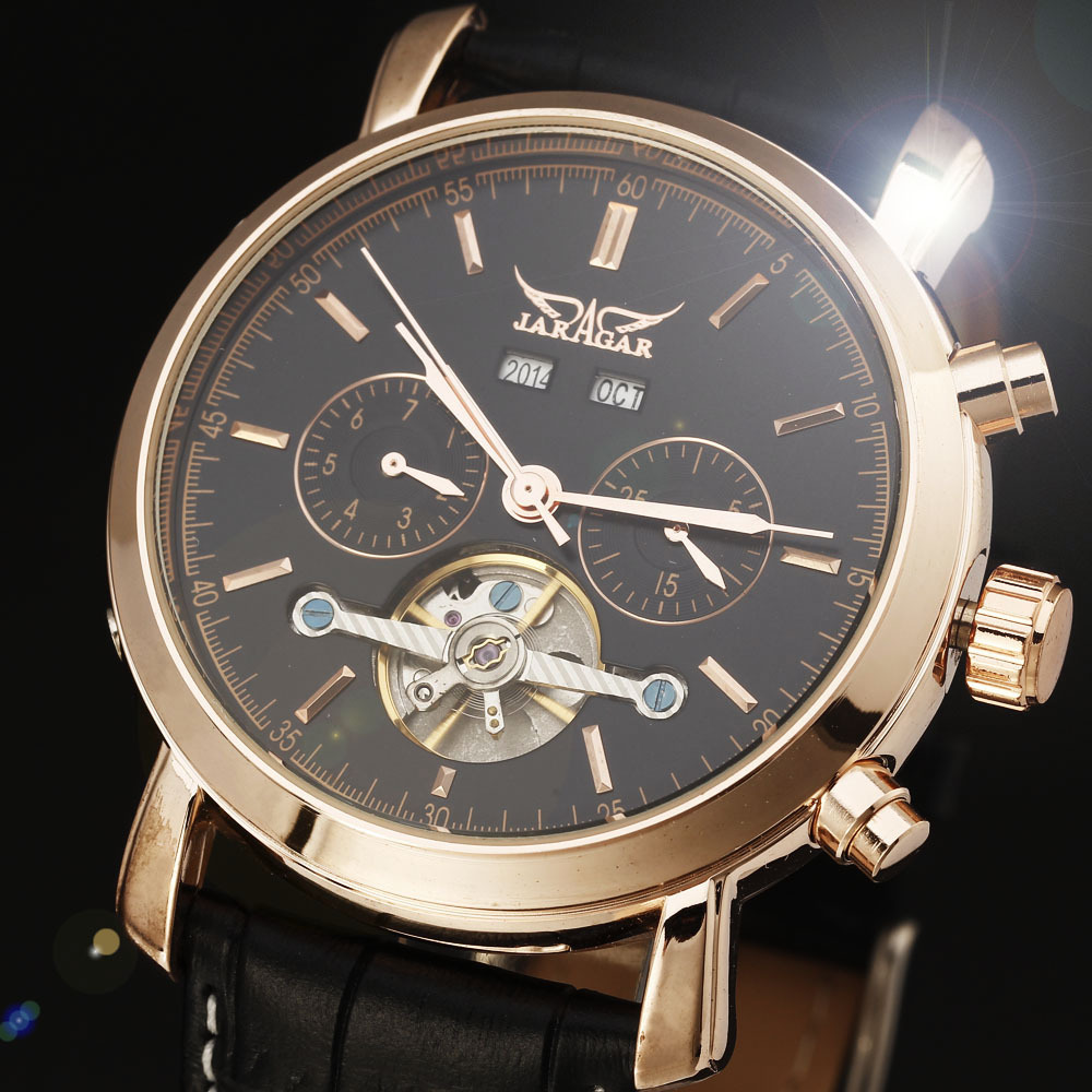 лучшая цена JARAGAR Tourbillon Automatic Watch Calendar Dial Genuine Leather Rose Gold Case Men Dress Mechanical Watches