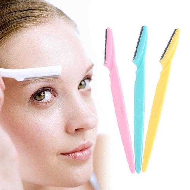 3 adet/takım kaş jilet yüz saç çıkarıcı kaş düzeltici keskin Mini makyaj bıçak şekillendirici tıraş kadınlar için 131-0054