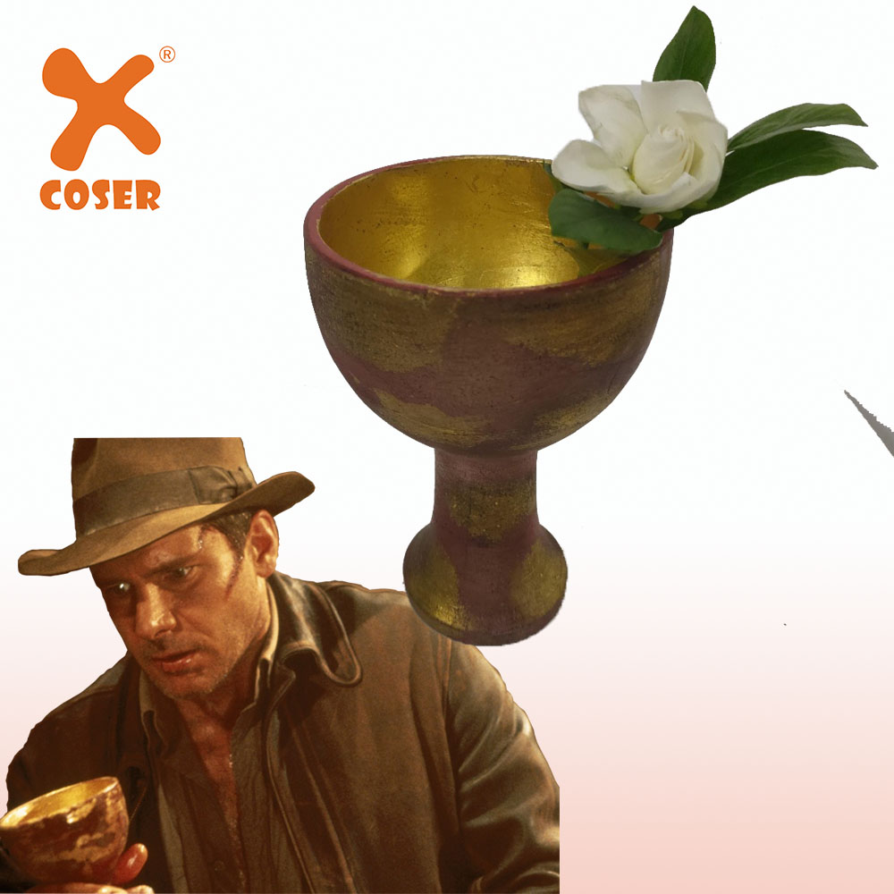 XCOSER Raiders Of The Lost Ark Indiana Jones Holy Grail Cosplay Accessories Golden&Red Resin Material Halloween Gifts For Fans