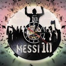 Voetbal Speler Messi Silhouet Shadow Vinyl Record Wandklok Persoonlijkheid Decoratieve 3D Wandklok Unqiue Cadeau Voor Voetbalfans