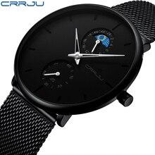 2019 новые часы CRRJU лучший бренд класса люкс для мужчин модное платье сталь кварцевые часы идеальный подарок черный циферблат современный стиль relojes hombre