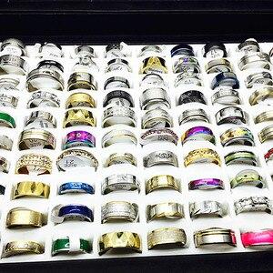 Image 5 - MIXMAX ensemble de bagues pour femmes, vente en gros, 100 pièces, ensemble de bagues en acier inoxydable, couple, bijoux, cadeaux de fête, livraison directe