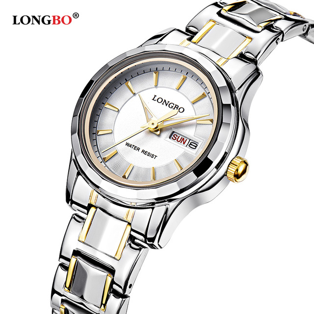 LONGBO Luxury Lovers Couple Watches Men Date Day Waterproof Women Gold Stainless Steel Quartz Wristwatch Montre Homme 80159