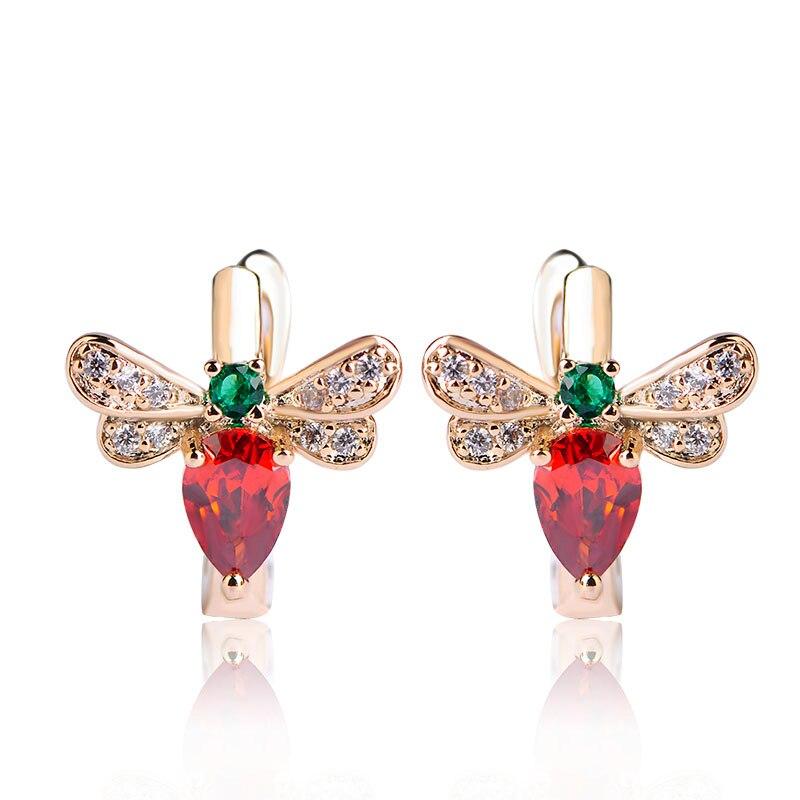 Blucome Cute Red Rhinestone Bee Stud Earrings For Women Girls Gifts Prong Setting Zirconia Brincos English Lock Small Earrings