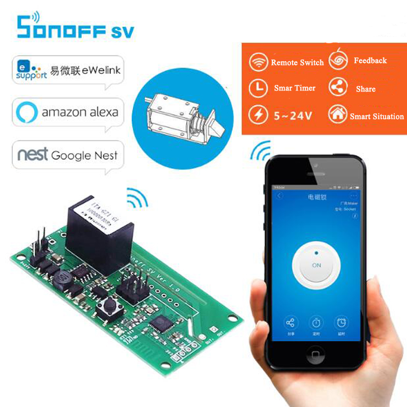 Itead Sonoff SV WiFi Wireless Smart Switch Safe Voltage 5-24V DC Smart Home Automation Module Support Secondary Development