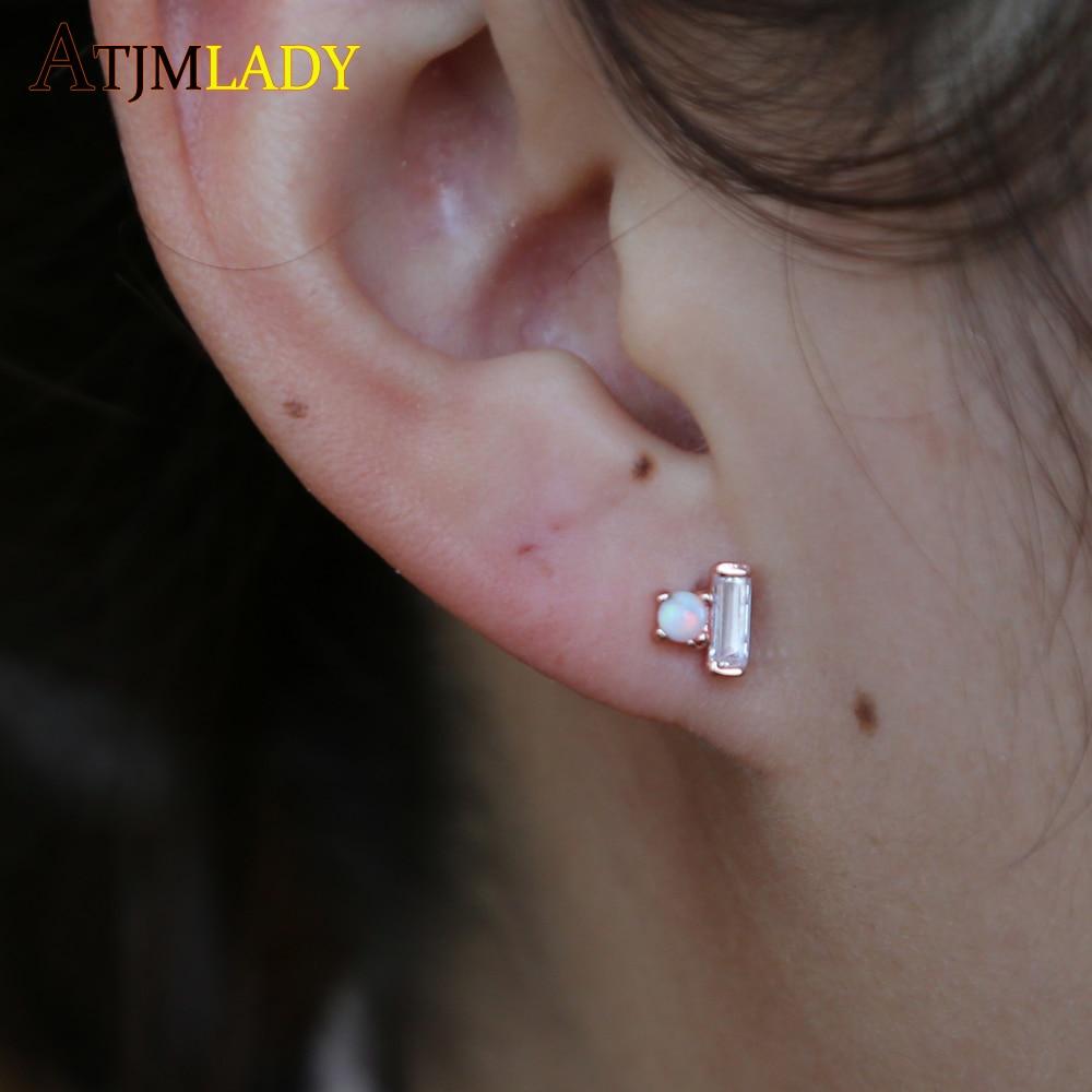 lovely sweet stud earring delicate minimal Baguette cz opal stud multi piercing small cute earrings for girls kids drop shipping