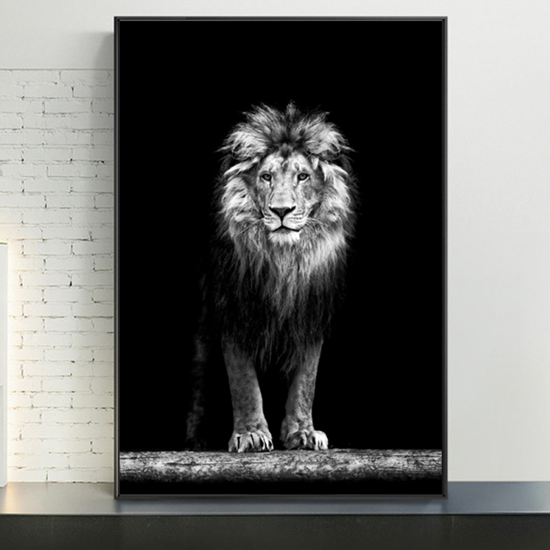 Large Wild Lion Animals  Ferocious Beast Poster Wall Art Canvas Painting Prints Decorative Photo Pictures For Living Room Decor