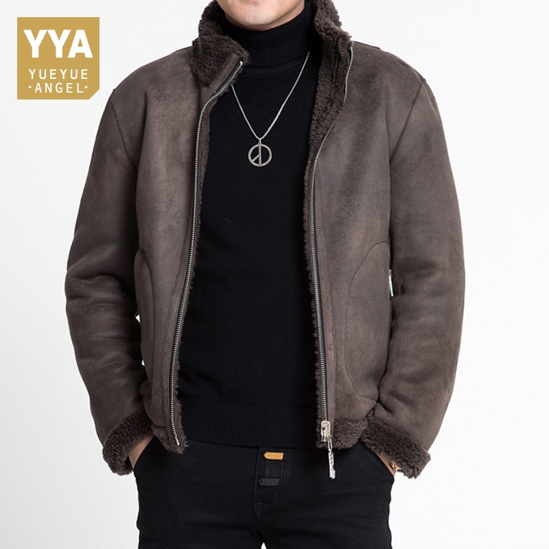 Mens Winter Slim Fit Short Shearling Jacket Real Wool Lining Office Work Coat Biker Man Suede Leather Outwear Coats Plus Size