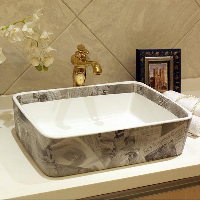Rectangular Blue And White Jingdezhen Ceramic Sink Wash Basin Ceramic  Counter Top Wash Basin Bathroom Sinks Small Laundry Sink