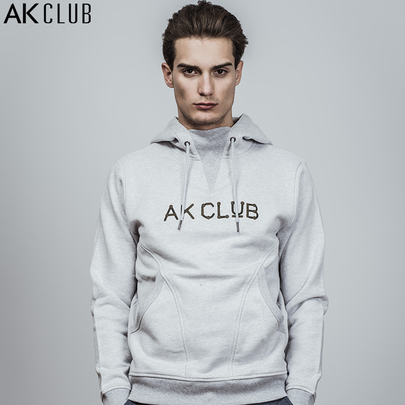 AK CLUB Men Hoodie Sweatshirt Thick 380g Terry Cotton Cloth Rib Neck Hooded Sweatshirt Logo Embroidery Brand Sweatshirt 1805201