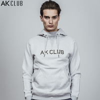 AK CLUB Men Hoodie Sweatshirt Thick 380g Terry Cotton Cloth Rib Neck Hooded Sweatshirt Logo Embroidery Brand Sweatshirt 1805201