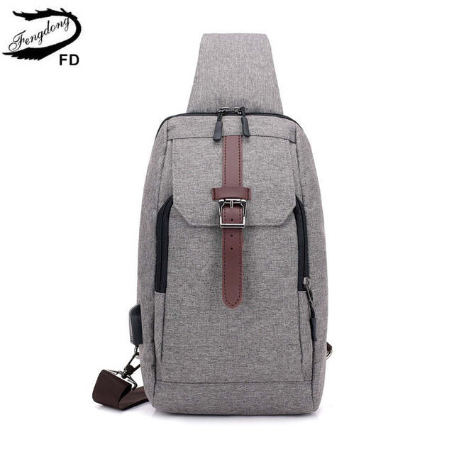 185444400665 US $12.79 60% OFF|FengDong boys small one shoulder usb charge bag men mini  messenger bags male waterproof sling chest bag crossbody bags for men-in ...