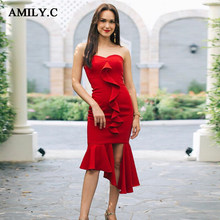 64b82e7a372 2019 fashion sexy red tube top fishtail new Bodycon bandage dress party club