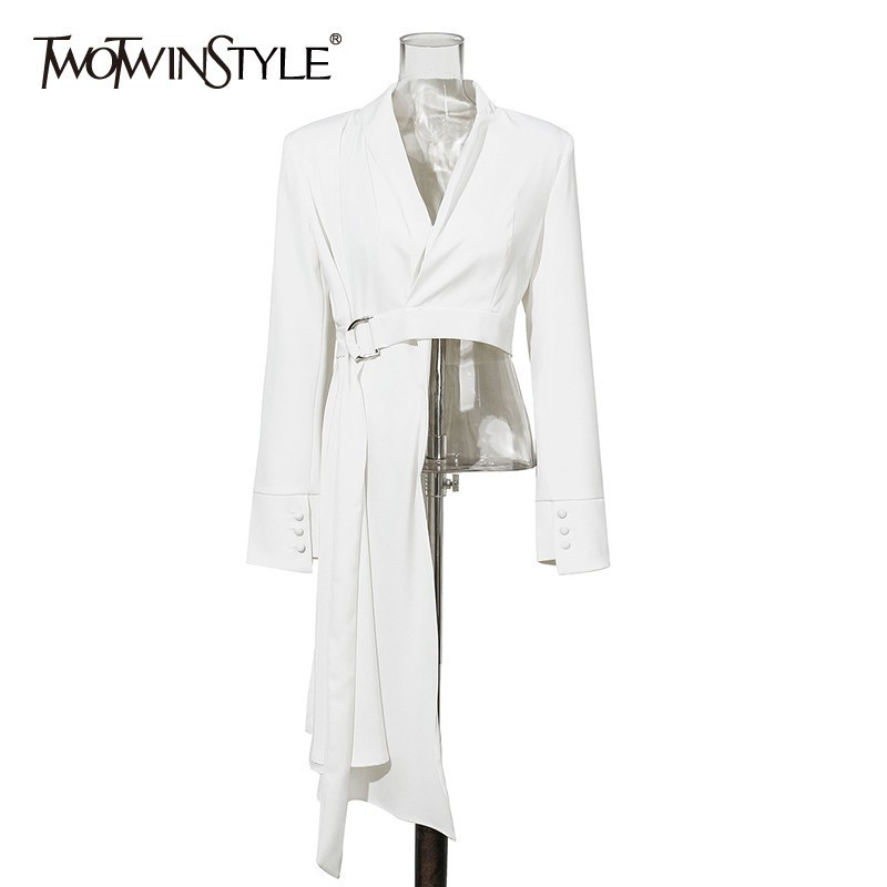 TWOTWINSTYLE OL White Blazer For Women V Neck Long Sleeve With Sashes Asymmetrical Coat Female Fashion Clothes 2020 Autumn