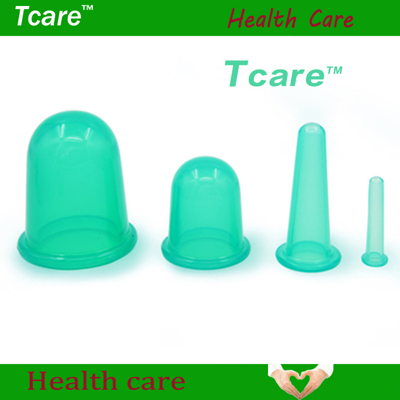 * Tcare 4Pcs / Set Body Beauty Silicone Vacuum Cupping Cups Neck Face Back Massage Cupping Cups Relax Full Body Massage Hälsovård