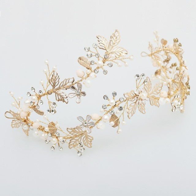 Dower me Bridal Gold Leaf Crown Floral Headpiece Wedding Prom Headband Tiara  Accessories Women Hair Jewelry Hairband 968ee1a6c98
