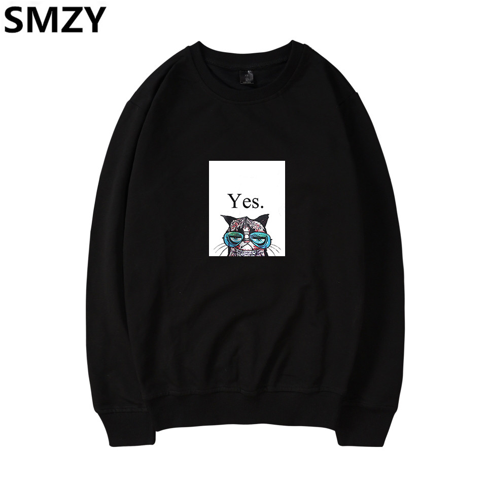 SMZY Cartoon Cat Capless Hoodies Sweatshirt Tops Pullovers Women Fashion Anime Cat Women Hoodies Sweatshirts Animal Cat Clother