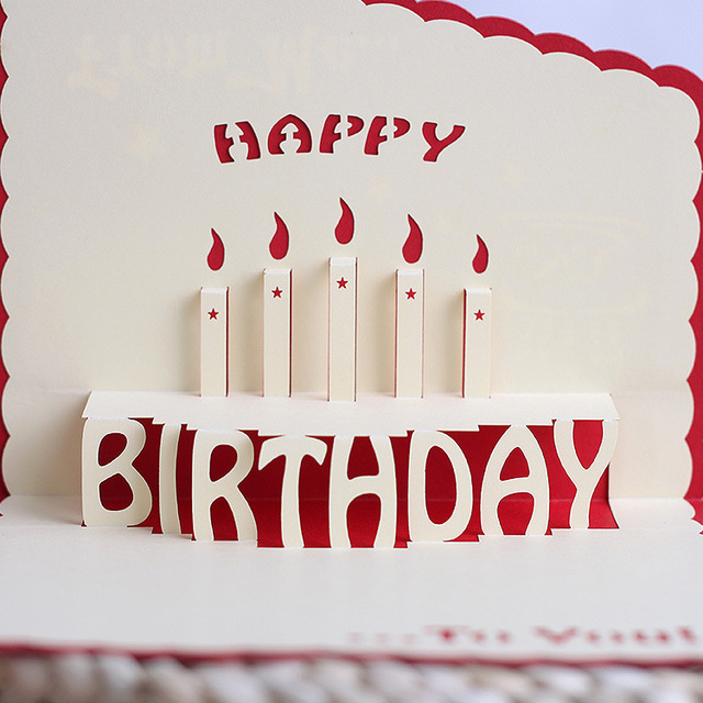 Birthday card wholesale cake paper cut stereo CARDS 3 d CARDS