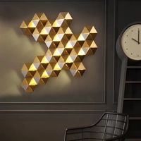 Luxury Honeycomb Nest Design Gold Lustre Led Wall Lamp Mirror Steel Luminaria Wall Scones Hotel Mall Led Lighting Lamparas