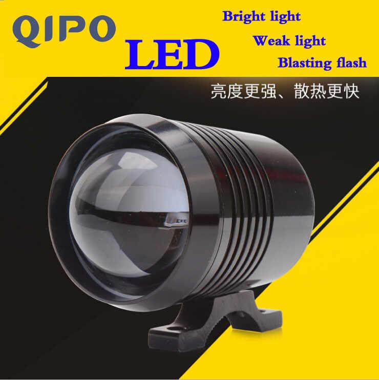 QIPO 2pcs Motorcycle Headlight U2 laser LED headlight Blasting flash Motorbike Driving fog light car styling Lamp switch 3500LM