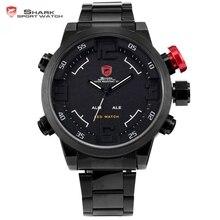 SHARK Sport Montre LED Inoxydable Plein Acier Noir Blanc Date jour Alarme Analogique Numérique Militaire Relogio Quartz Hommes Horloge/SH108