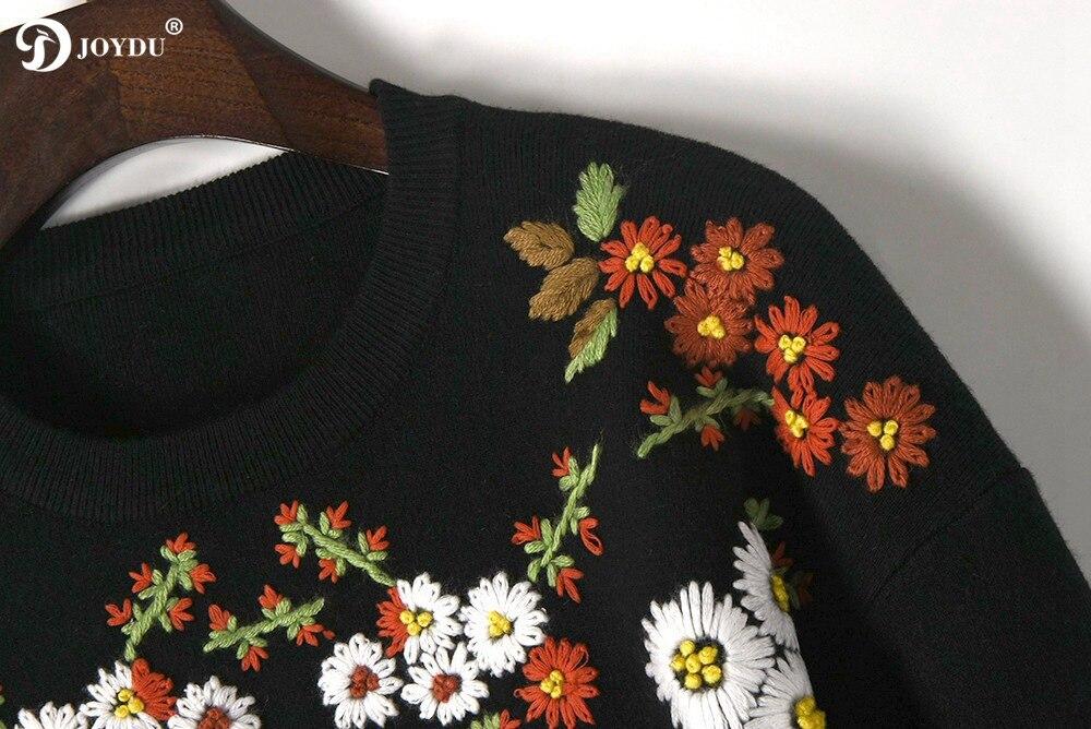 Femmes De Hiver Pull Tops Luxe Broderie Joydu Tricot Noir Marguerite Chandail Femme 2018 Chandails Surdimensionné Piste Jumper Vintage WEIH9D2