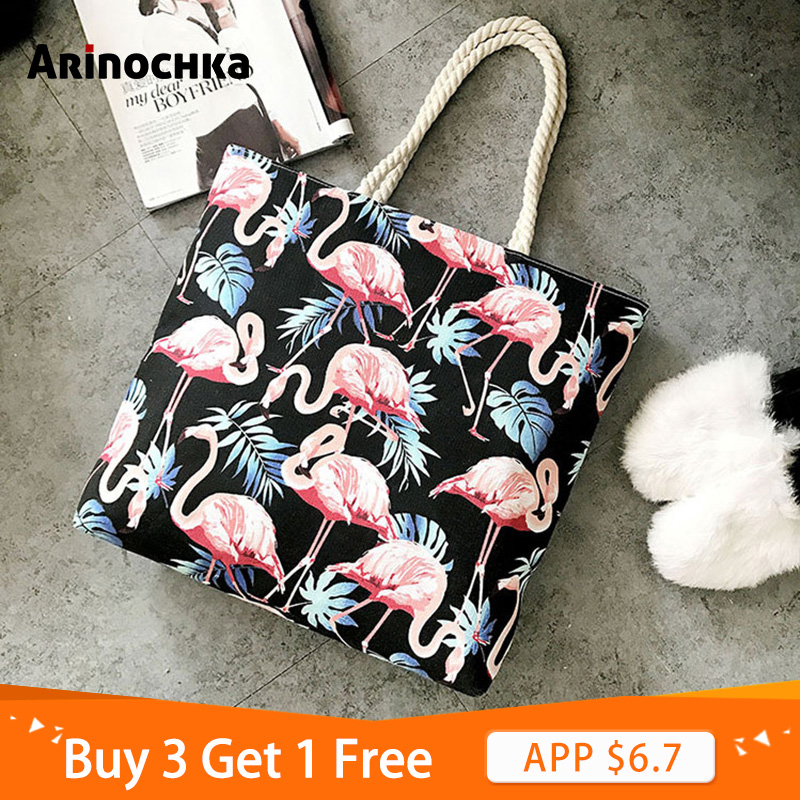 Women Canvas Flamingo Shoulder Bag Bohemian Style Shopping Handbags Animal Printing Bag Female Casual Tote Big Floral Beach Bags
