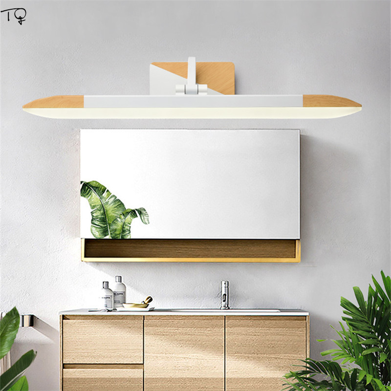 Nordic Cabinet Mirror Light Led Solid Wood Modern Simple Bathroom Toilet Cloakroom Makeup Dressing Wall Sconce Decor Lamp