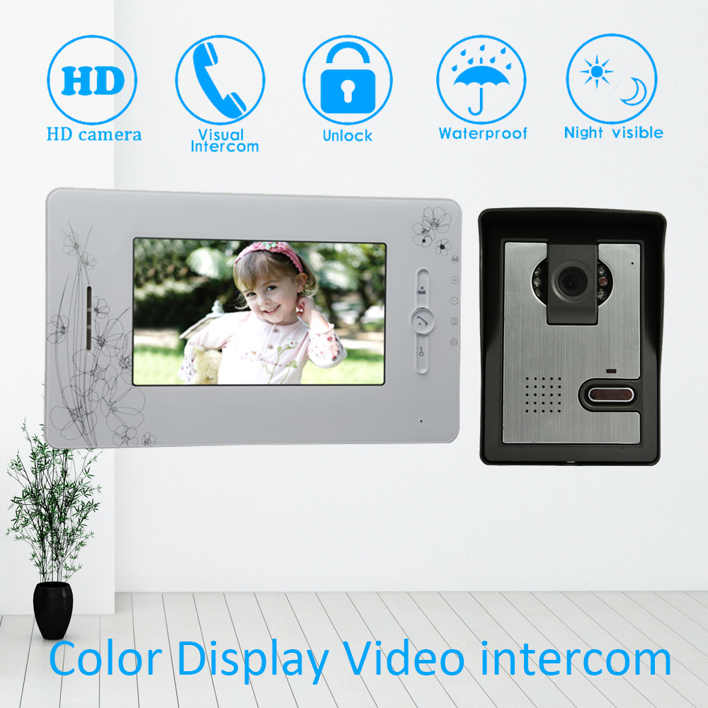 Wire Type 7 Inch LCD Screen Colorful Display Video Door Phone Doorbell Intercom System Night Vision Smart Home Talkback