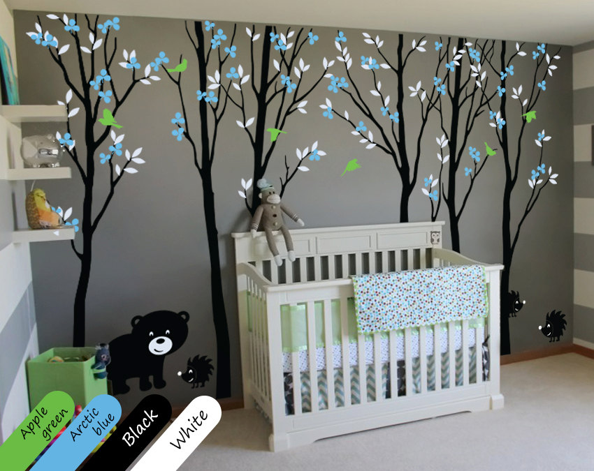 Large Trees Wall Decals With Leaves Birds Bear and Hedgehogs Russian Forest Wall Stickers For Kids