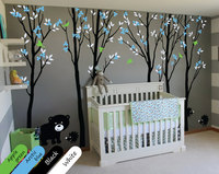 Large Trees Wall Decals With Leaves Birds Bear and Hedgehogs Russian Forest Wall Stickers For Kids Room Baby Nursery Mural JW220