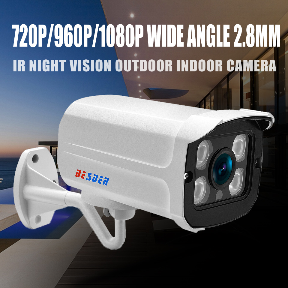 BESDER Wide Angle 2 8mm 720P 960P 1080P IP Camera Waterproof Surveillance  P2P RTSP Bullet CCTV Camera Email Alert XMEye Outdoor