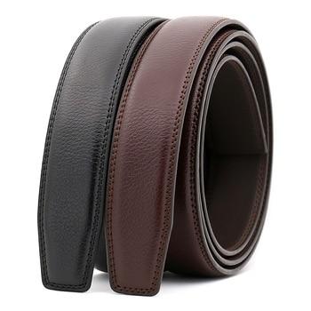 60% de liquidación clientes primero la mejor actitud 3,0 cm 3,1 cm cinturón de cuero ancho hombres sin hebilla cinturones de  hombre cinturón de cuero genuino de lujo Stap negro marrón 110 cm-130 cm ...