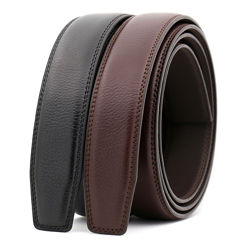 3.0cm 3.1cm Width Leather Belt Men Without Buckle Mens Belts Luxury Genuine Leather Belt Stap Black Brown 110cm-130cm CE3300