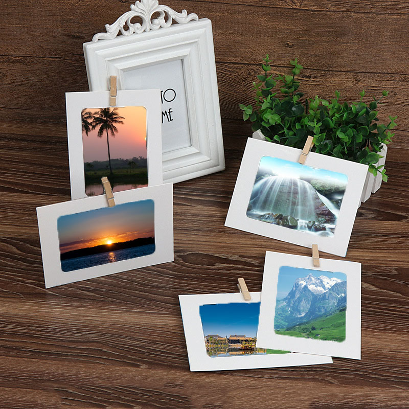 10pcs Home 6 Inch Rectangle Paper Photo Frame With Wood Clips Wall Picture Album DIY Hanging Rope Picture Frame Home Decor