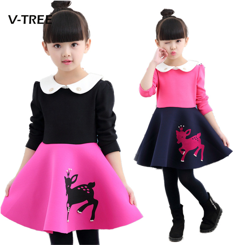 Autumn Winter Girls Dress 3 Styles Christmas Clothes Dress For Girls Cute Deer Princess Party Dress Kids Children Clothing sleeveless 2017 new autumn fall winter girls princess dress brand vest dress solid cute children dress chidlren clothing 2 8y