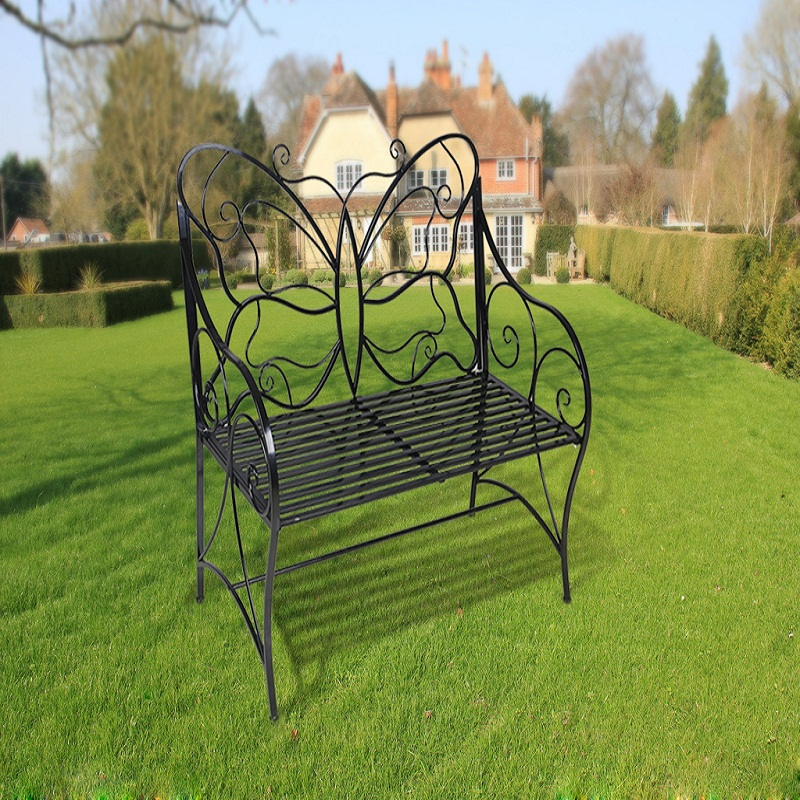 HLC Metal Antique Garden Bench Outdoor Double Seat With Decorative  Butterfly Cast Iron Backrest(China