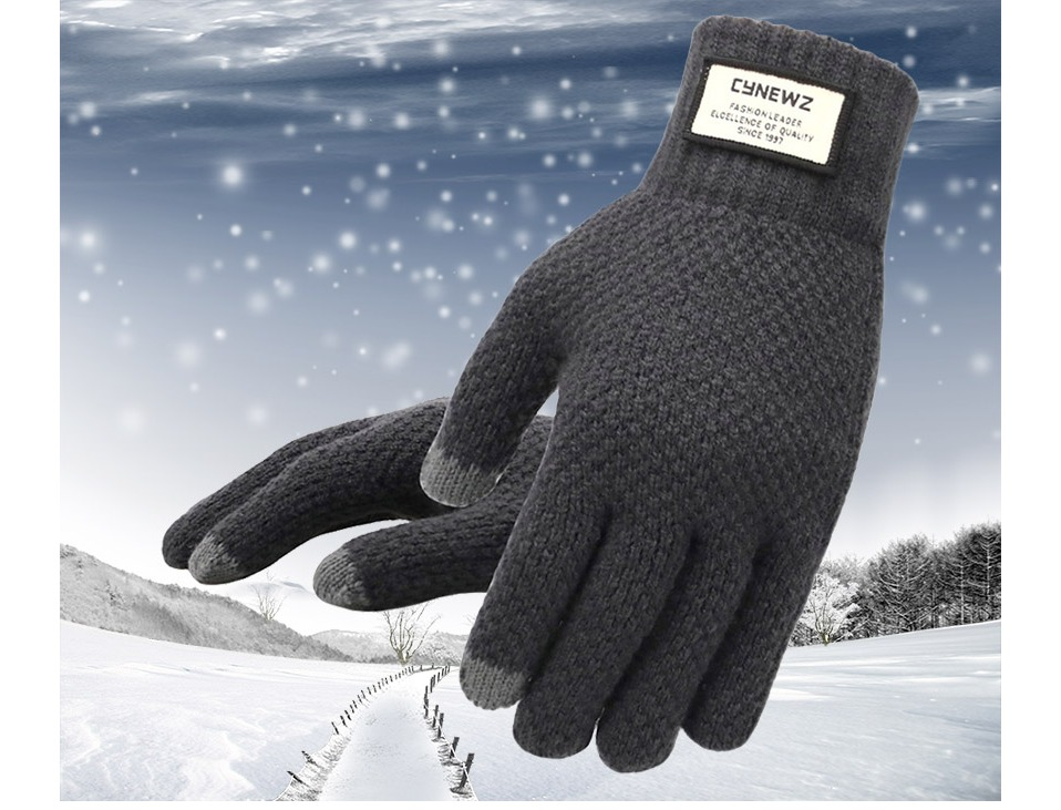 Warm and soft Knitted Touch Screen Gloves for Men Suitable during Winter and Autumn Made of Acrylic and Polyester Material 7
