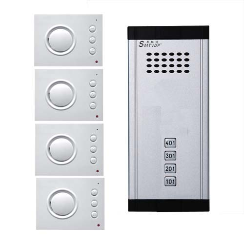 SMTVDP Intercom System Direct Press Key Audio Door Phone for 4 apartments, 4-wired Audio Doorphone With Hand-free Indoor Units