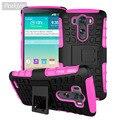 Case para lg g3 capa anti-batida de borracha & híbrido tampa de plástico para lg g3 lgg3 d830 d850 d855 case mobile phone holder stand <